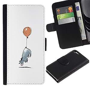 KLONGSHOP / Tirón de la caja Cartera de cuero con ranuras para tarjetas - Minimalist Cartoon Kids - Apple iPhone 5 / 5S