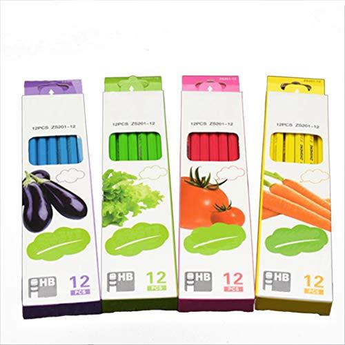 4色 野菜鉛筆 1箱12本入り 鉛不使用 ポイズン 先進的な筆記用鉛筆 HB 環境保護用鉛筆 (ペンプランを送るための異なる色の箱) four box マルチカラー