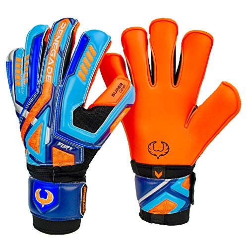 Renegade GK Fury Siege Roll Hybrid Cut Pro Level 4 Youth Goalkeeper Gloves with Pro-Tek Fingersaves - Kids Soccer Goalie Gloves Youth Size 7 - Boys & Girls Goalie Gloves Soccer - Blue, Orange, Black