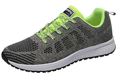Lace Lightweight Casual Sport Flats Breathable Shoes Sneakers Women Athletic Men Up Grey Running A08A BIGTREE Flyknit FqaPw0xFI
