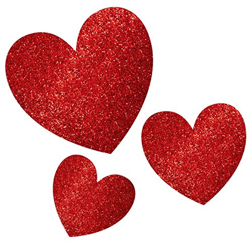 Amscan Blushing Valentine's Day Glitter Heart Cutouts Party