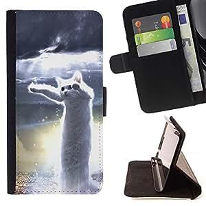 Momo Phone Case / Flip Funda de Cuero Case Cover - Cat Dancing Blanca héroe Meme Web - HTC Desire 626