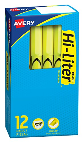 Avery Pen Style Highlighter - HI-LITER Fluorescent Pen Style Highlighter with Chisel Tip, Yellow Ink, 12-Count  (23591)