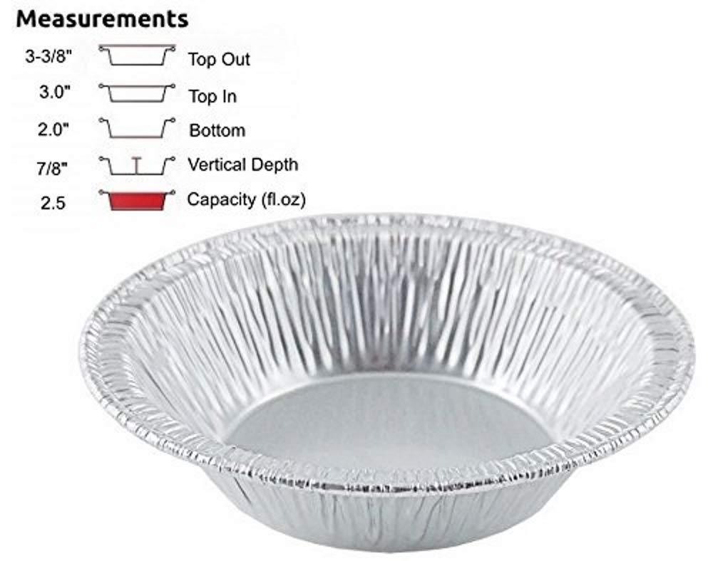 Pack of 250 Pactogo 3 Disposable Aluminum Foil Tart Pans Mini Silver Baking Pie Tins