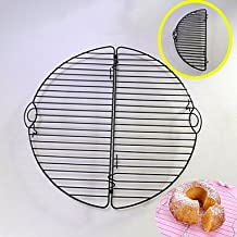 wwqy Foldable Round Cake Cooling Rack for Cake Bread Cupcake Baking Tool Nonstick Coated Carbon Steel Black Color
