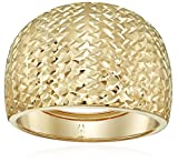 14k Yellow Gold Italian Bold Diamond-Cut Dome Band Ring, Size 8