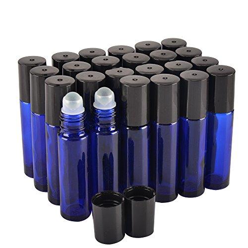 24 Pack,10 ml Blue Glass essential oil roller Bottle Bottles