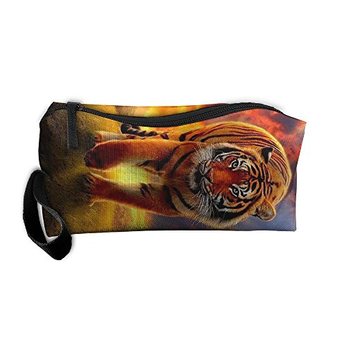 Tigers Zipper Top Handbag (FGVXCW Cosmetic Bag Sunset Clouds Tiger Brush Pouch Makeup Bag Zipper Wallet Handbag Carry Case Pen Organizer Wristlet Holder)