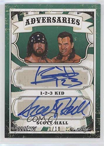 1-2-3 Kid; Razor Ramon #1/10 1-2-3 Kid (Trading Card) 2016 Leaf Signature Series Wrestling - Adversaries - Green #ADV-03