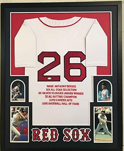 (FRAMED WADE BOGGS AUTOGRAPHED SIGNED BOSTON RED SOX STAT JERSEY JSA COA)