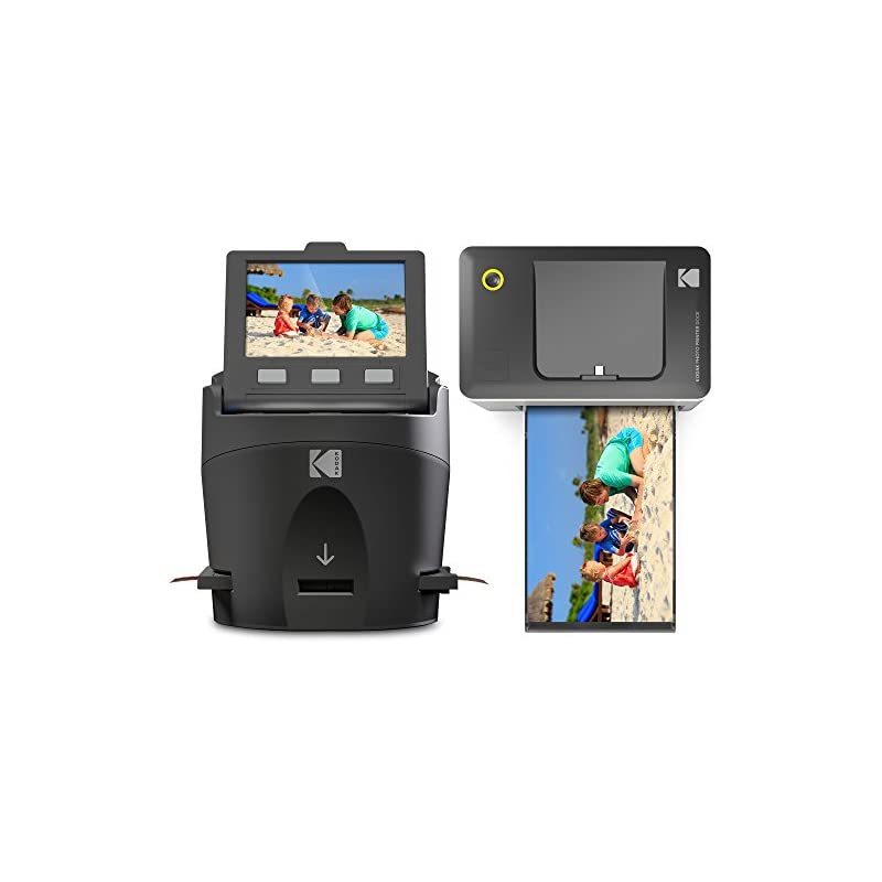 Kodak Scanza Film Scanner & Dock Printer Bundle - Scan, Save and Print Negatives & Slides to 4x6 Prints - Set Includes Kodak Printer Dock, Kodak Scanza Digital Film Scanner & 16GB SD Card w/Reader