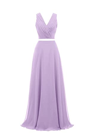 Ladsen Sexy V Neck Backless Prom Gown Evening Dresses 2 Piece Floor