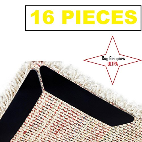 Rug Grippers Ultra  - 16 Pieces For A Perfect Non Slip Pad.  Easier To Use Than Carpet Tape And Rug Tape.  Best Carpet Grippers Available!  ​Ideal For A Smooth Carpet Pad.