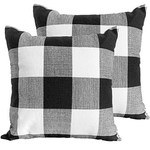 JUEYINGBAILI Throw Pillow Covers 18×18 Decorative Buffalo Check Plaid Pillow Cover - Farmhouse Christmas Square… 1