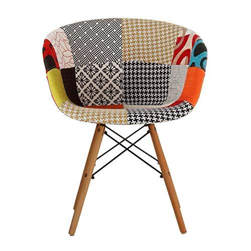 Joseph Allen Home Danish Modern Upholstery Side Chair Multicolor Patch (Inspired Danish Furniture)