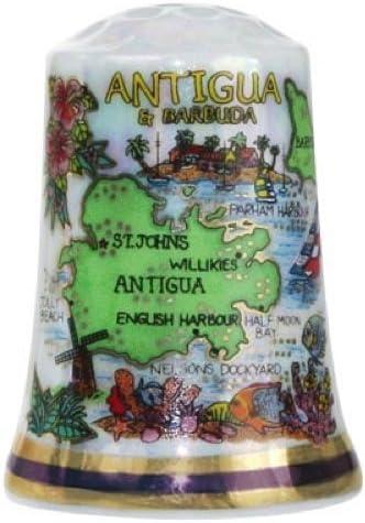 Antigua /& Barbuda Caribbean Map Pearl Souvenir Collectible Thimble agc