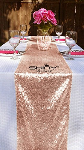 10 Pieces-12 x108 Blush-Sequin Table Runner Wedding Party Catering Event (Blush)
