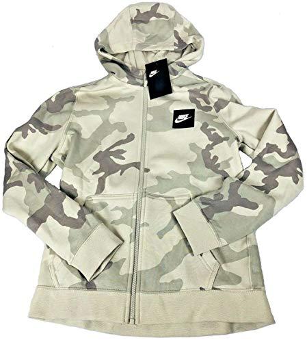 Nike Boys Youth Camo Club Fleece Full-Zip Hoodie (Platinum Camo, X-Large)