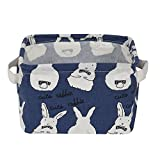Laundry Room Ideas Diy Small Foldable Storage Basket Canvas Fabric Organizer Collapsible and Convenient For Nursery Babies Room 100% COTOON By USATDD (Blue)