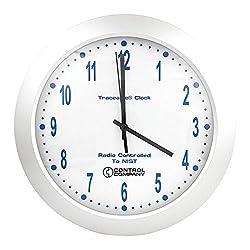Thomas 1077 Traceable Analog Radio Atomic Wall Clock, 12 Diameter x 2 Depth
