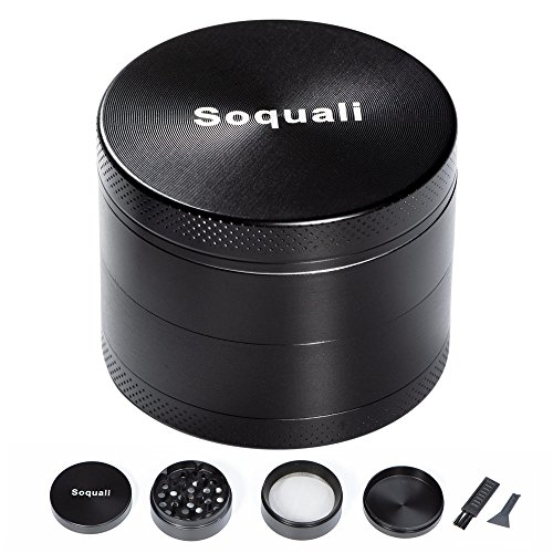 Weed Grinder, Herb Grinder, Grinder for Weed with Keef Catcher, Metal Tobacco Spice Grinder 4 Piece, Super Smooth Easily Get Fine Pollen, 2'' (50mm) - Black