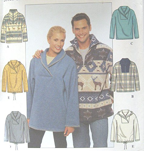 Misses Mens Teens Pullover Knit Top Sewing Pattern Front Inset Collar Vary Simplicity 8857 Size XS-M