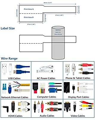 Mr-Label US letter Sheet Self-adhesive Cable Label - Waterproof | Tear Resistant - with Free Print Tool - for Laser Printer