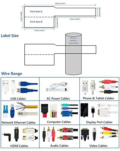 Etiqueta autoadhesiva para cables Mr-Label - Impermeable   Resistente al desgarro   Duradero - con la herramienta de impresión en línea - para impresora láser (10 hojas (300 etiquetas), multicolor)