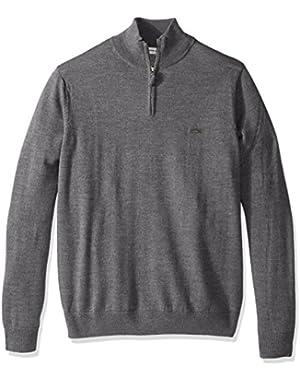Men's 100% Lambswool 1/4 Zip Sweater with Tonal Croc