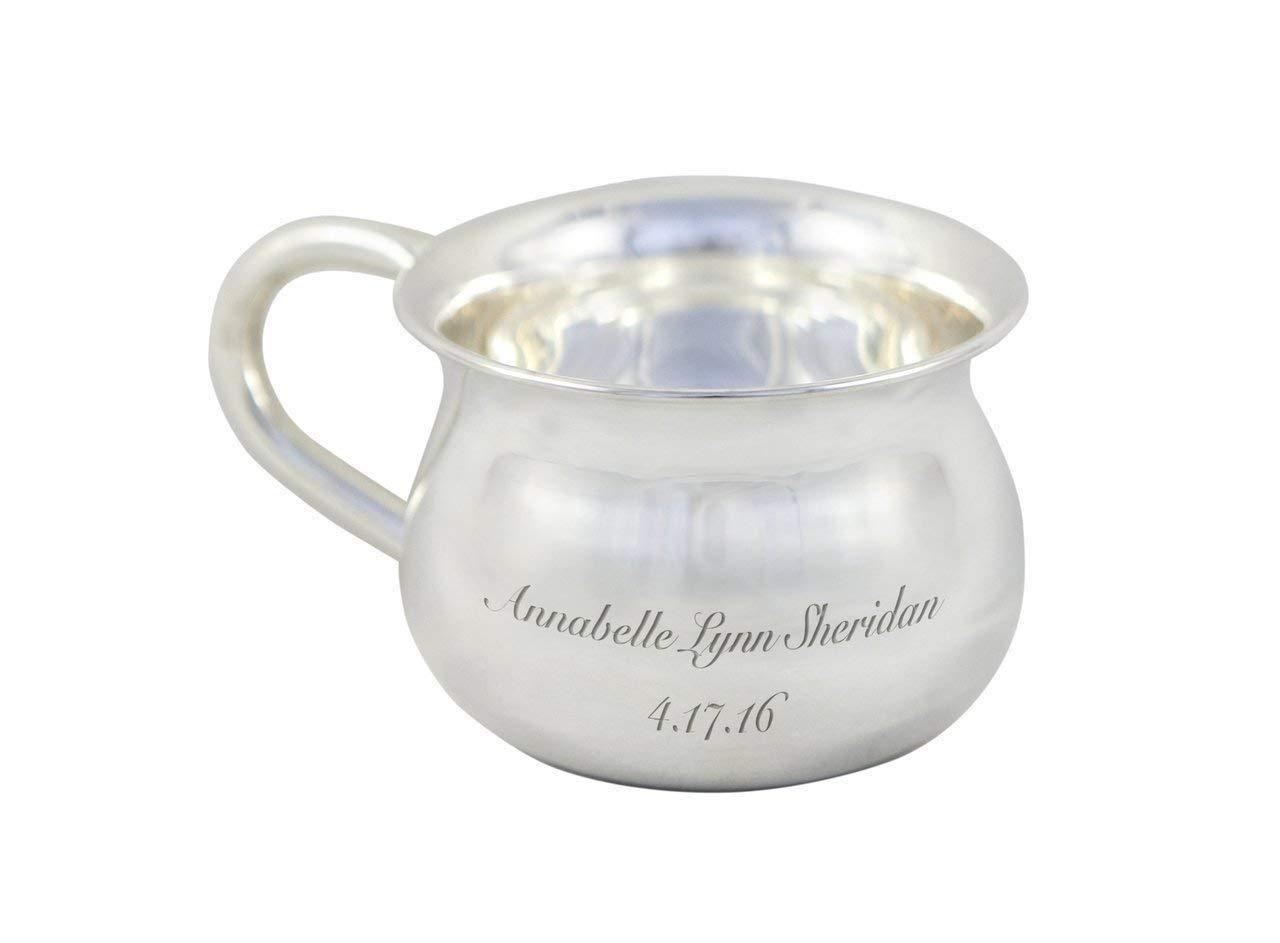 100/% Pure Heavy Gauge Custom Engraved Silver Baby Feeding Cup