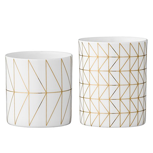 Bloomingville White & Gold Ceramic Votive and Tealight Holder Set