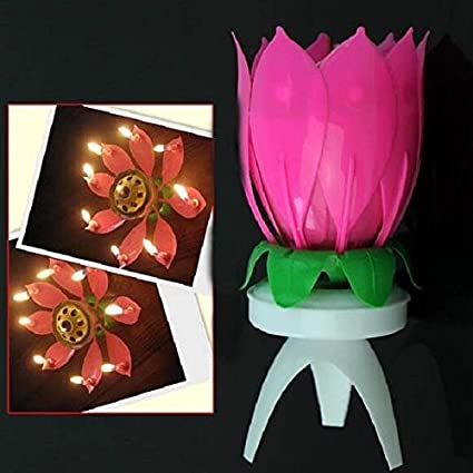 Buy A2z Musical Lotus Flower Rotating Birthday Party Candle Online