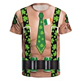 WUAI Unisex St. Patrick's Day Funny Shirts 3D Printed Casual Novelty Pullover Sweatshirt Lucky Tops(Khaki,US Size M = Tag L)