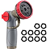 VicTsing Metal Garden Hose Nozzle Heavy Duty Nozzle with 10 Watering Patterns, 10 Rubber Washers, for Watering Plants, Washing Cars, Cleaning Yards and Showering Pets, Red