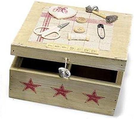 Caja Costurero de madera con corazón blanco 2 compartimentos. 00072 cajas Modista Corazones: Amazon.es: Hogar