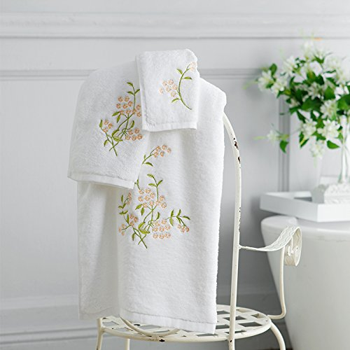 ZEM-PXD Cotton embroidery towels gift set cotton towel towel towel three suit fabric more intimate,Qin