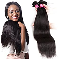 Mink 8A Brazilian Virgin Hair Straight Remy Human Hair 4 Bundles Deals (14 16 18 20 Inches) 100% Unprocessed Brazilian Straight Hair Extensions Natural Color Weave Bundles by Grace Length Hair