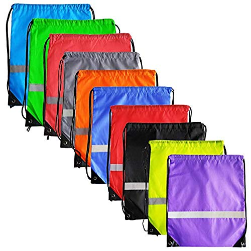 10 Colors Reflective Strip Drawstring Backpack Bags Sack Pack Cinch Tote Kids Adults Storage Fabric Polyester Bag for Sport Gym Traveling M-Aimee