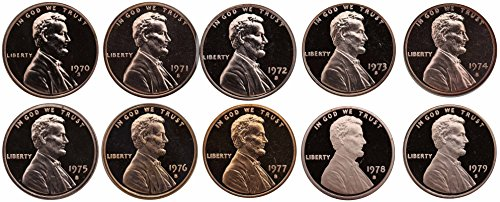 1970-1979 S Lincoln Memorial Cent Gem Deep Cameo Proof Run 10 Coin Set US Mint Penny Lot Complete 1970's (Memorial Set)