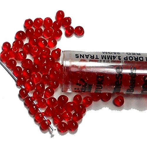 Red Transparent Miyuki 3.4mm Fringe Seed Bead Glass Tear Drops 25 Gram Tube Approx 650 Beads