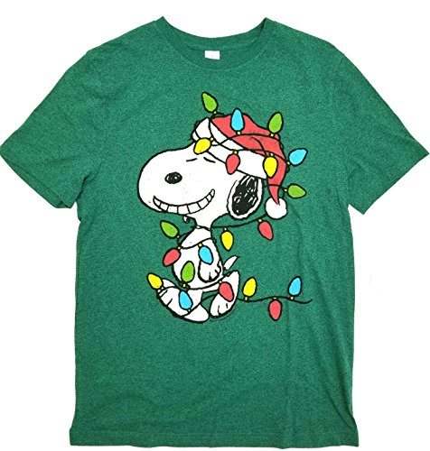 Snoopy Wrapped In Christmas Light Bulbs Heather Green Color, Vintage Style Adult Small Size T-Shirt ()