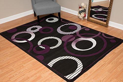 United Weavers of America Dallas Hip Hop Rug - 5ft. 3in. x 7ft. 2in. Plum, Area Rug with Jute Backing, Circular Geometric Design (Area And Black Purple Rugs)