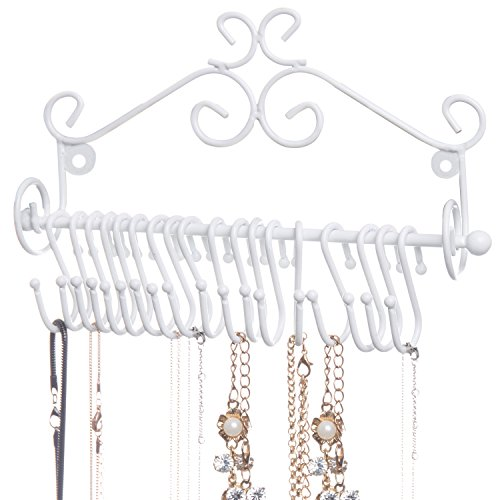 MyGift Wall-Mounted White Metal Scrollwork Design Hanging Jewelry Organizer Rack w/ 20 Hanging S-Hooks