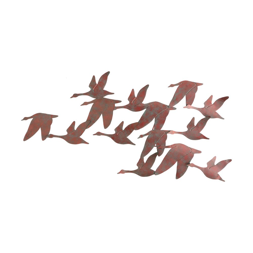 Amazon com southern enterprises flock of geese wall art brushed copper finish flock of geese metal posters prints