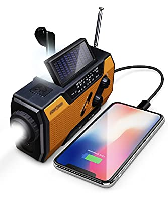 FosPower Emergency Solar Hand Crank Portable Radio + NOAA