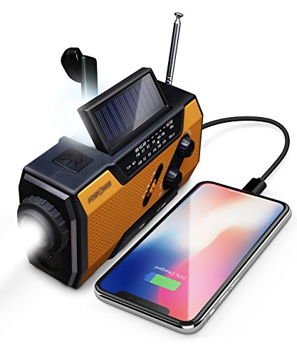 FosPower Emergency Solar Hand Crank Portable Radio, NOAA Weather Radio for Household and Outdoor Emergency with AM/FM, LED Flashlight, Reading Lamp, 2000mAh Power Bank USB Charger and SOS Alarm (Radio Crank Usb Hand)
