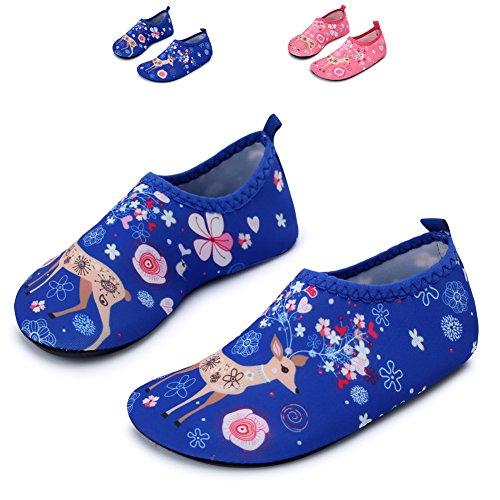 JIASUQI Kid's Athletic Water Shoes For Beach Running Boating,Blue Giraffe US 11-11.5 M Little (Running Giraffe)
