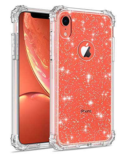 Lontect Compatible iPhone Xr Case Glitter Crystal Clear Sparkle Bling Heavy Duty Hybrid Sturdy Armor High Impact Shockproof Protective Cover Case for Apple iPhone Xr 6.1