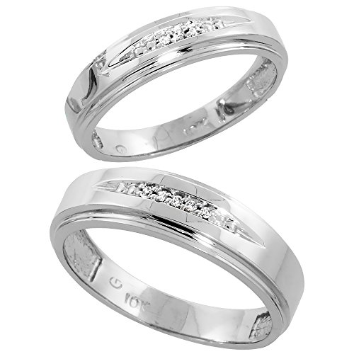 10k White Gold Diamond Wedding Rings Set for him 6 mm and her 5 mm 2-Piece 0.05 cttw Brilliant Cut, Ladies Size 5 by Silver City Jewelry