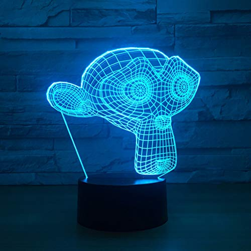 LQZN Monkey Mask Led 3D Night Light Colorful USB Touch Led Visual Atmosphere Lamp Home Decor Lights